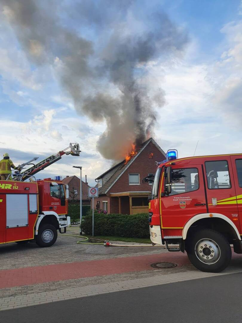 Dachstuhlbrand des Einfamilienhauses
